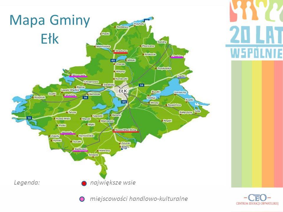 Mapa Gminy Ełk Legenda: największe wsie