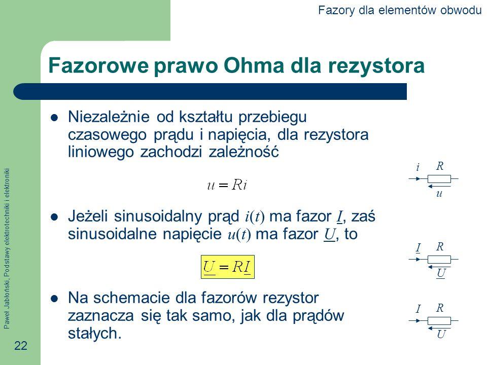 Fazorowe prawo Ohma dla rezystora