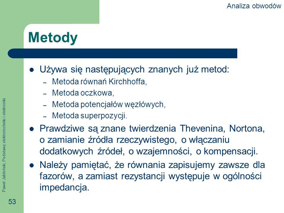 Metody Używa się następujących znanych już metod: