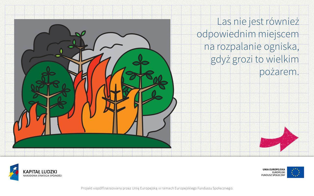 Las nie jest również odpowiednim miejscem na rozpalanie ogniska, gdyż grozi to wielkim pożarem.