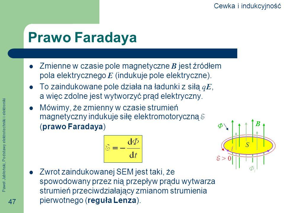 Cewka i indukcyjność Prawo Faradaya. Zmienne w czasie pole magnetyczne B jest źródłem pola elektrycznego E (indukuje pole elektryczne).