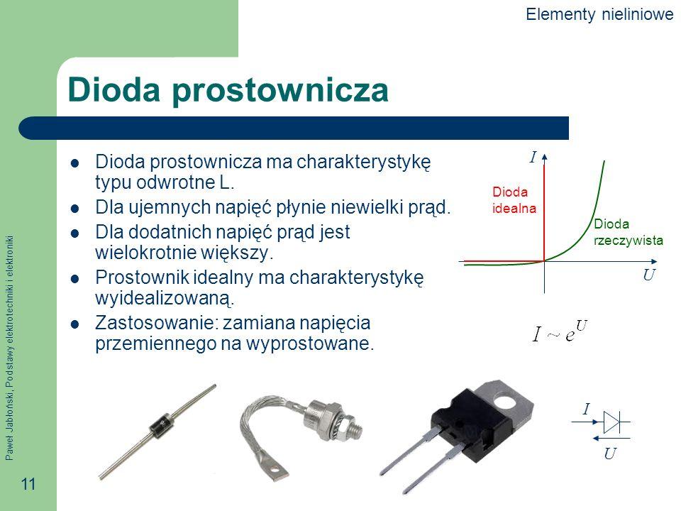 Elementy nieliniowe Dioda prostownicza. U. I. Dioda. rzeczywista. idealna. Dioda prostownicza ma charakterystykę typu odwrotne L.