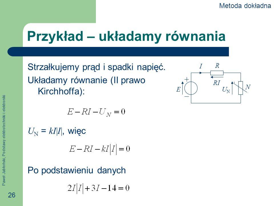 Przykład – układamy równania