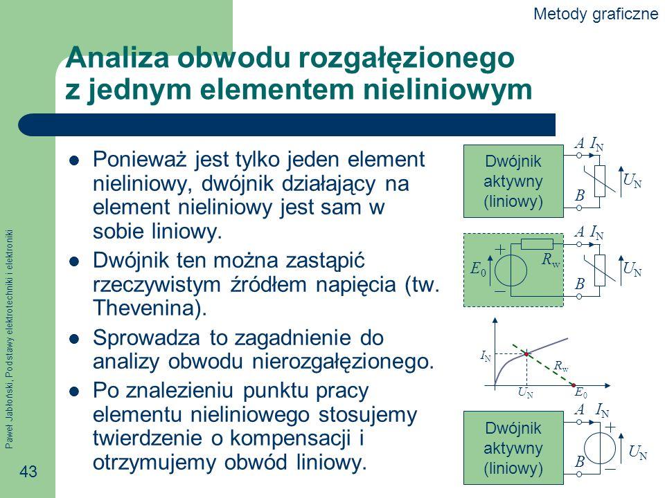 Analiza obwodu rozgałęzionego z jednym elementem nieliniowym