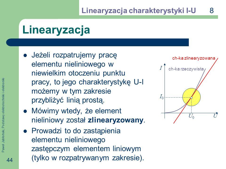 Linearyzacja 8 Linearyzacja charakterystyki I-U