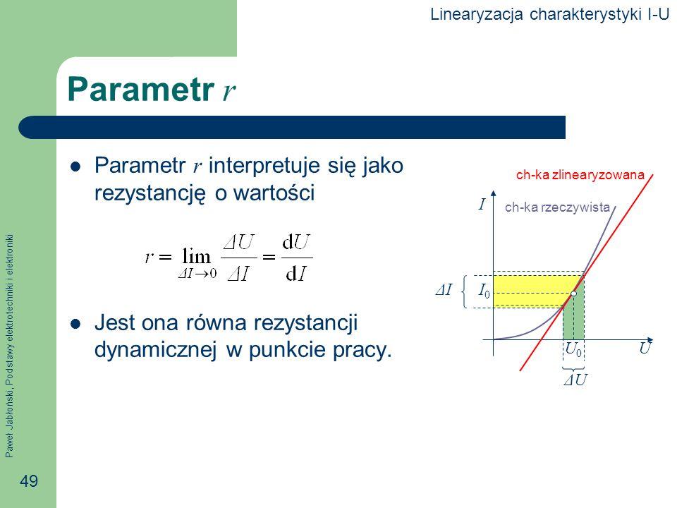 Parametr r Parametr r interpretuje się jako rezystancję o wartości