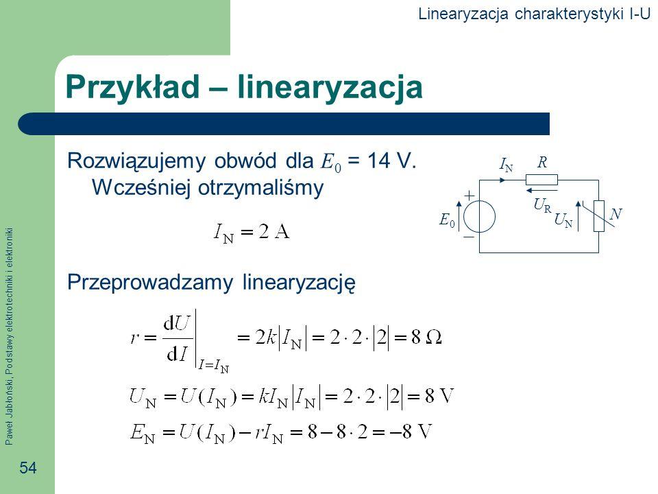 Przykład – linearyzacja