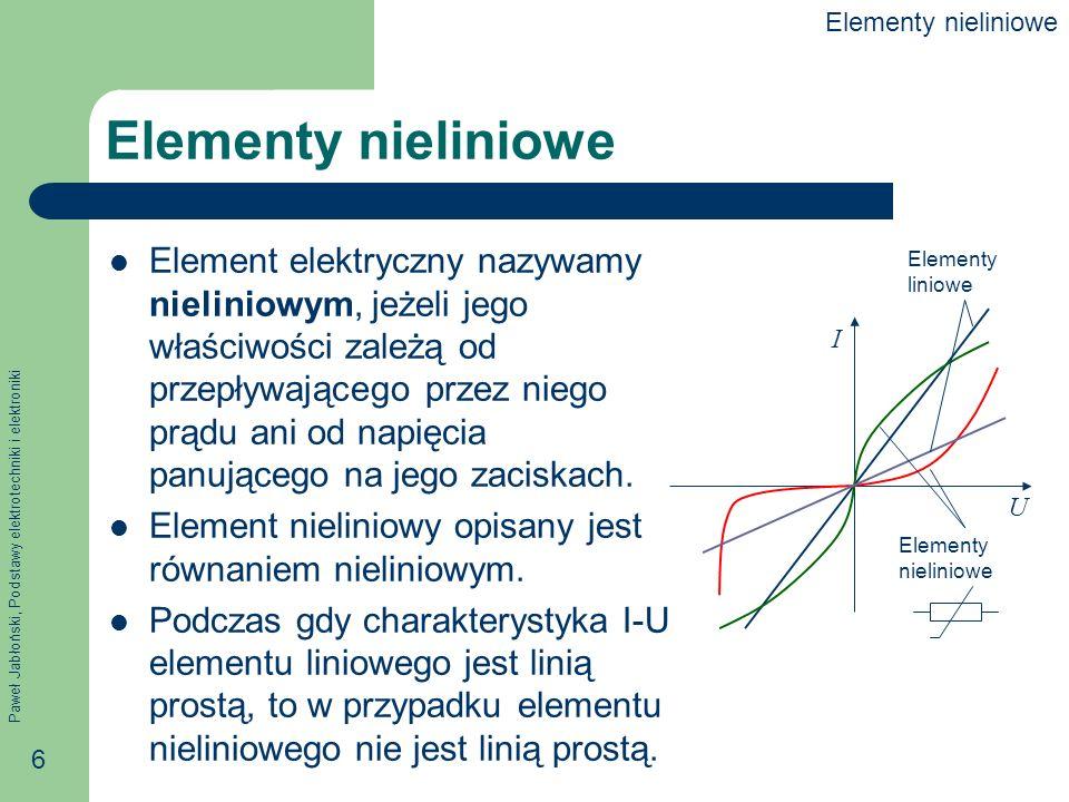 Elementy nieliniowe Elementy nieliniowe.