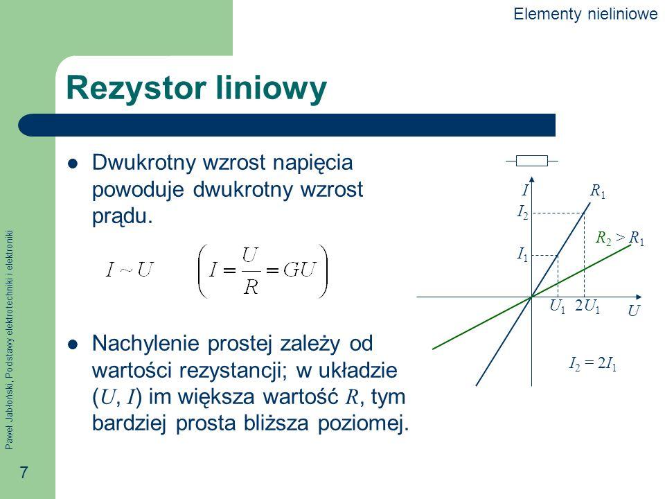 Elementy nieliniowe Rezystor liniowy. Dwukrotny wzrost napięcia powoduje dwukrotny wzrost prądu.