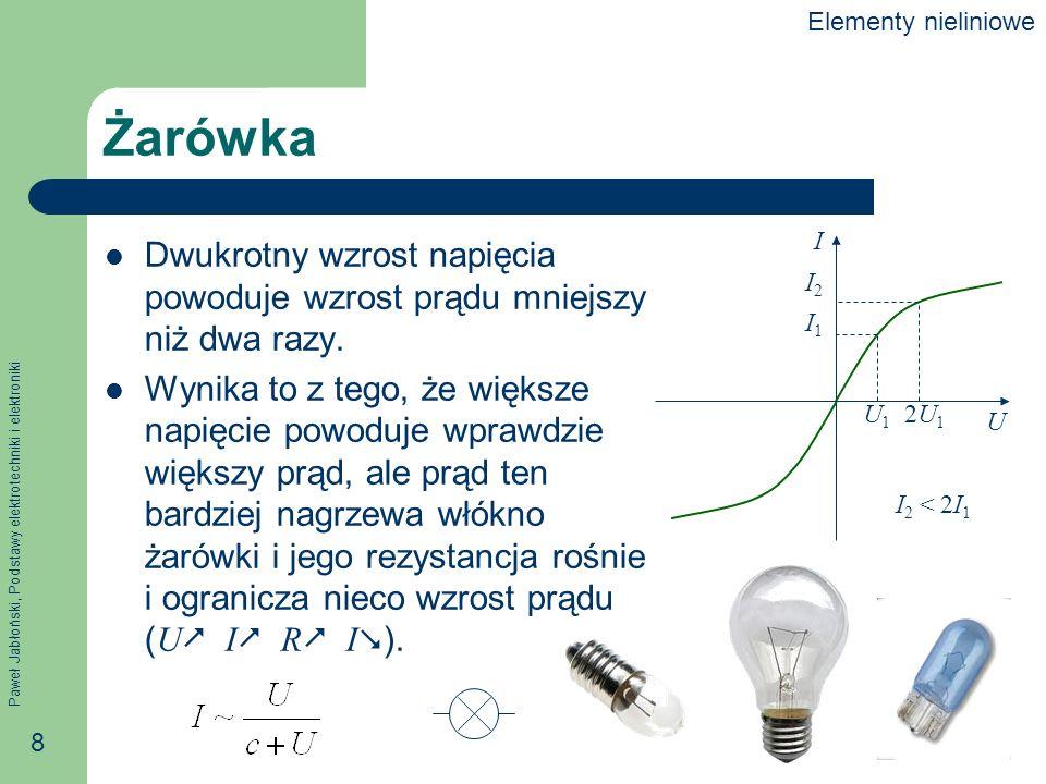 Elementy nieliniowe Żarówka. U. I. U1. 2U1. I1. I2. I2 < 2I1. Dwukrotny wzrost napięcia powoduje wzrost prądu mniejszy niż dwa razy.