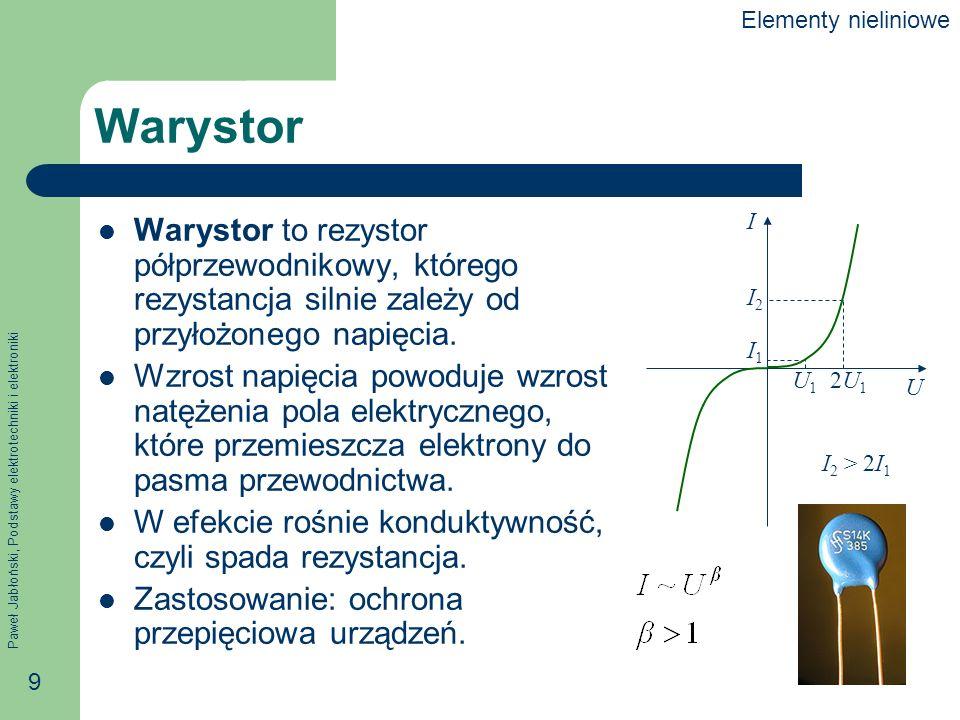 Elementy nieliniowe Warystor. U. I. U1. 2U1. I1. I2. I2 > 2I1.