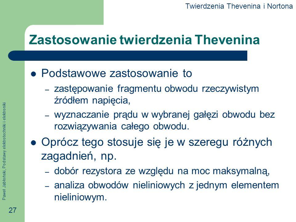 Zastosowanie twierdzenia Thevenina