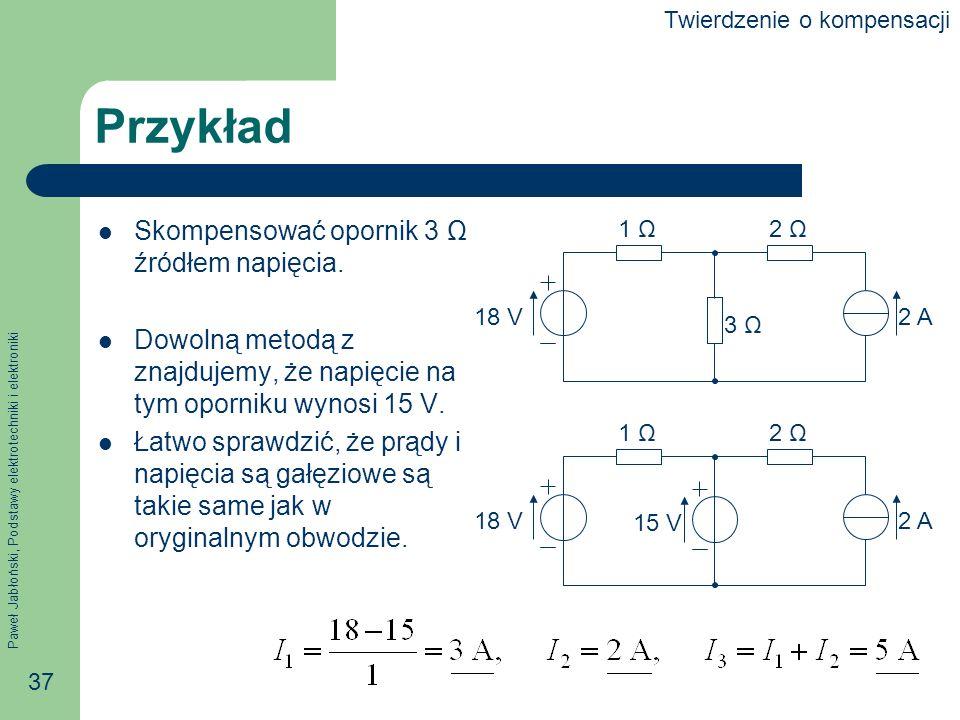 Przykład Skompensować opornik 3 Ω źródłem napięcia.