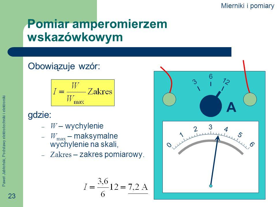 Pomiar amperomierzem wskazówkowym