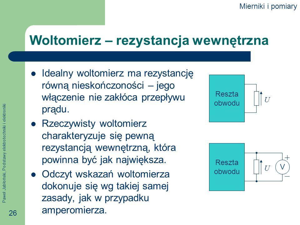 Woltomierz – rezystancja wewnętrzna