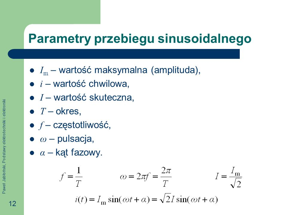 Parametry przebiegu sinusoidalnego