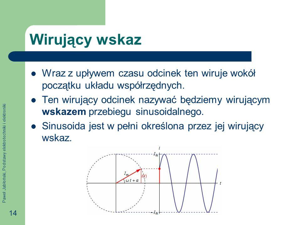 Wirujący wskaz Wraz z upływem czasu odcinek ten wiruje wokół początku układu współrzędnych.