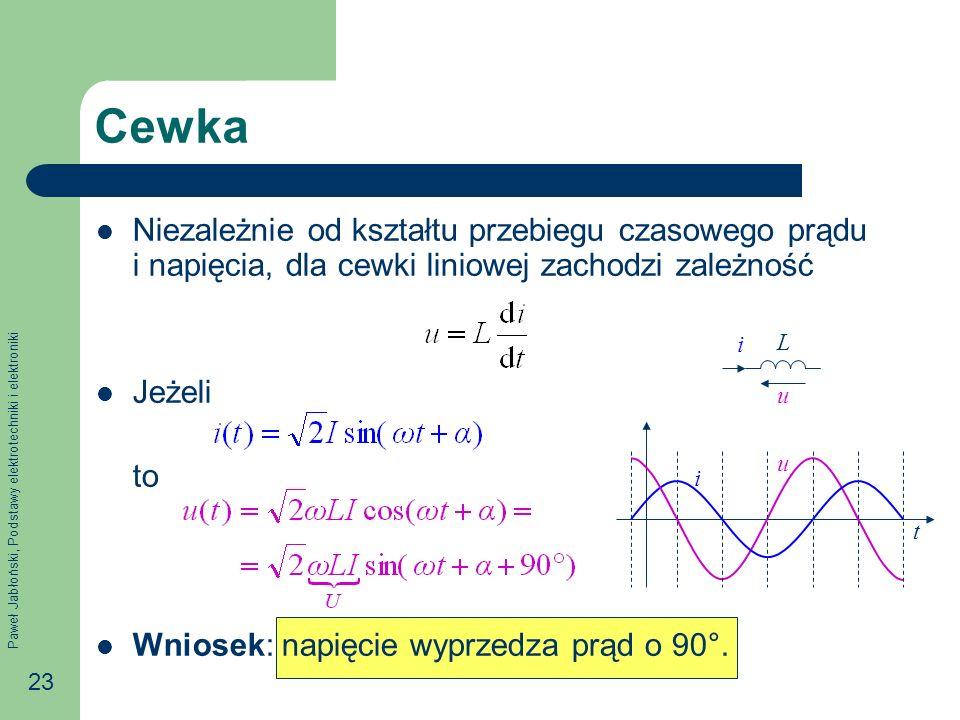 CewkaNiezależnie od kształtu przebiegu czasowego prądu i napięcia, dla cewki liniowej zachodzi zależność.
