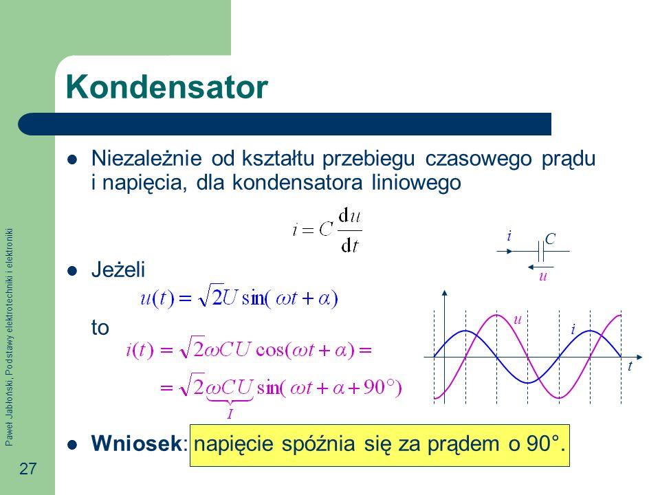 Kondensator Niezależnie od kształtu przebiegu czasowego prądu i napięcia, dla kondensatora liniowego.