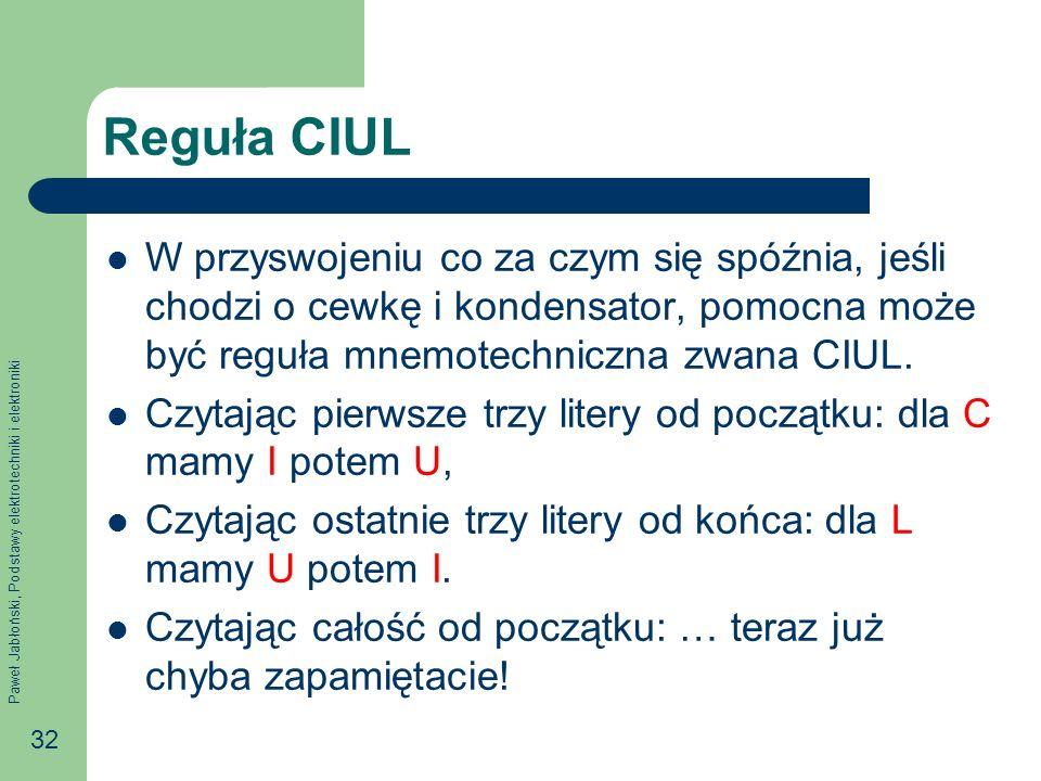 Reguła CIUL W przyswojeniu co za czym się spóźnia, jeśli chodzi o cewkę i kondensator, pomocna może być reguła mnemotechniczna zwana CIUL.
