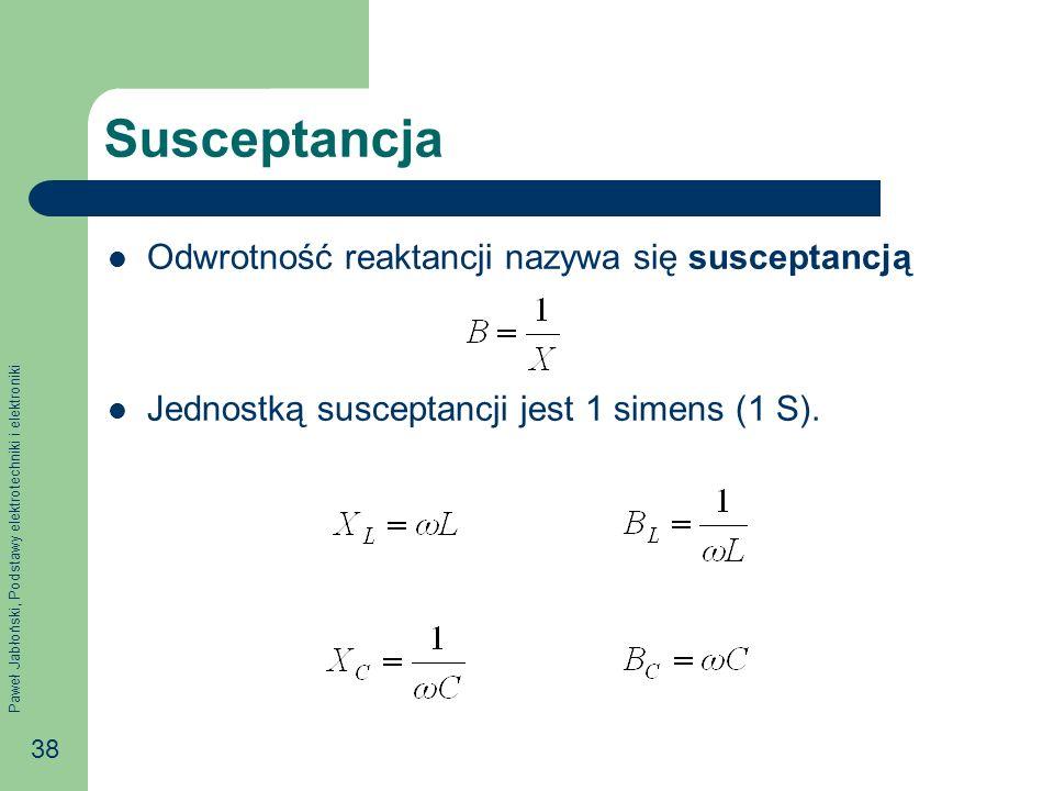 Susceptancja Odwrotność reaktancji nazywa się susceptancją