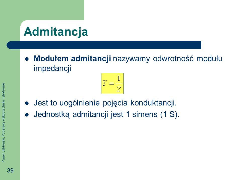 Admitancja Modułem admitancji nazywamy odwrotność modułu impedancji