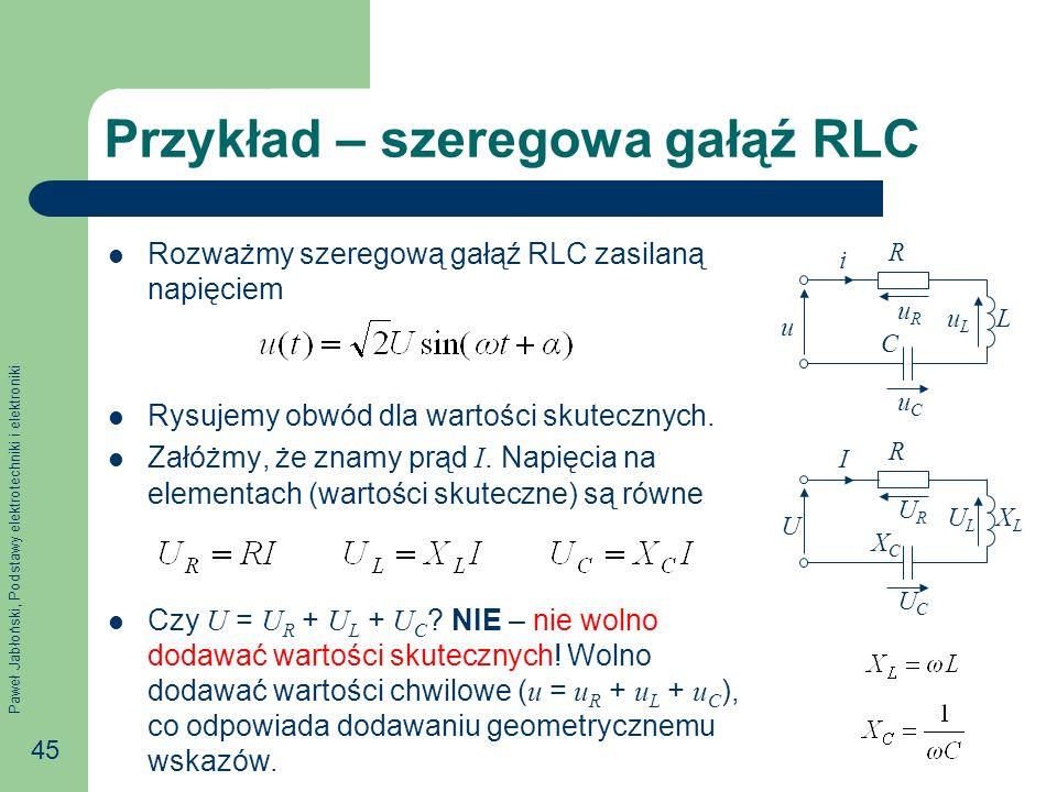 Przykład – szeregowa gałąź RLC