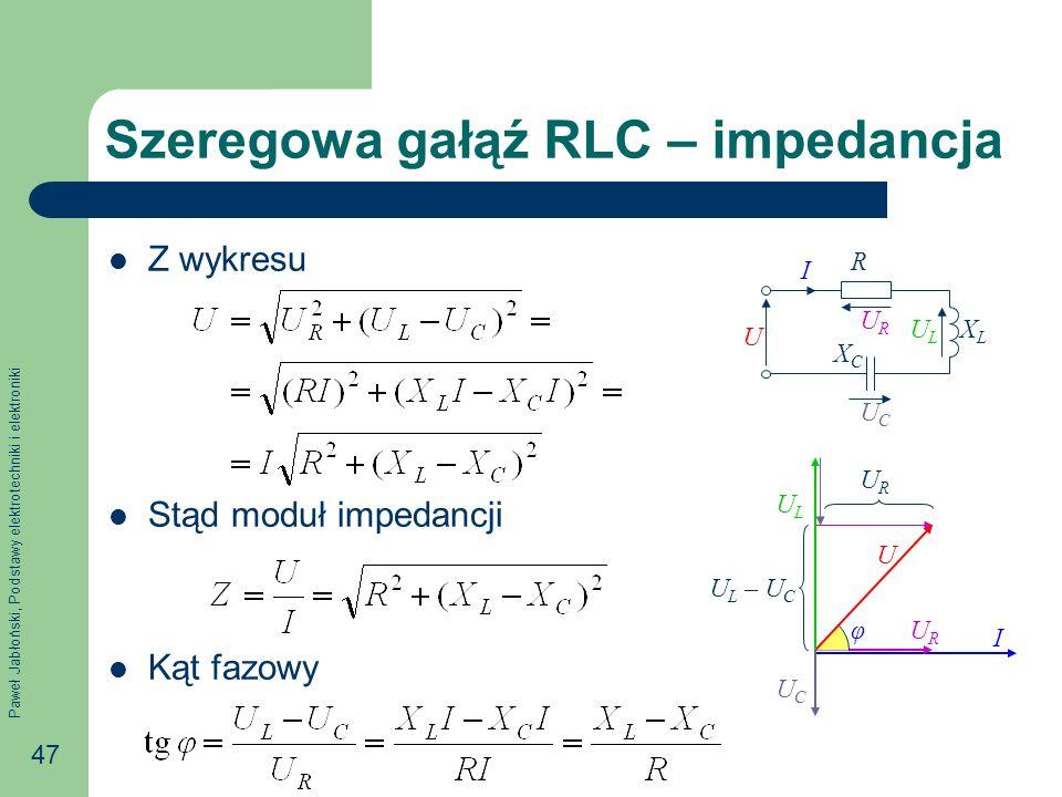 Szeregowa gałąź RLC – impedancja