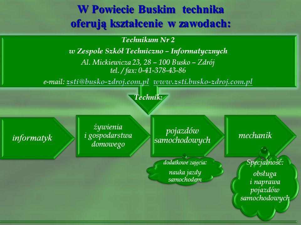 W Powiecie Buskim technika oferują kształcenie w zawodach: