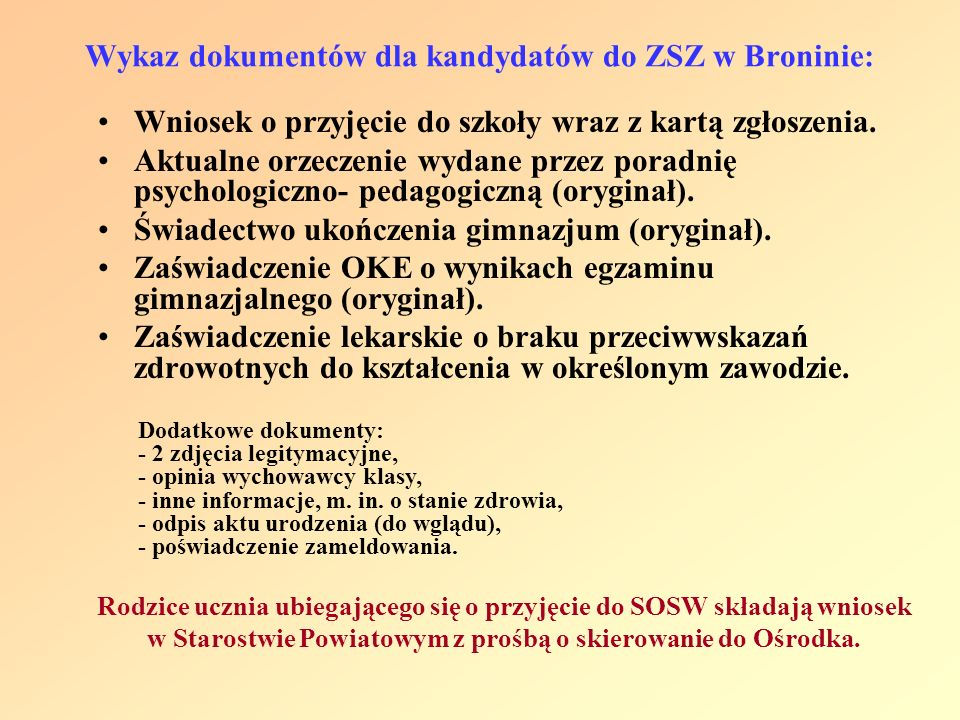 Wykaz dokumentów dla kandydatów do ZSZ w Broninie: