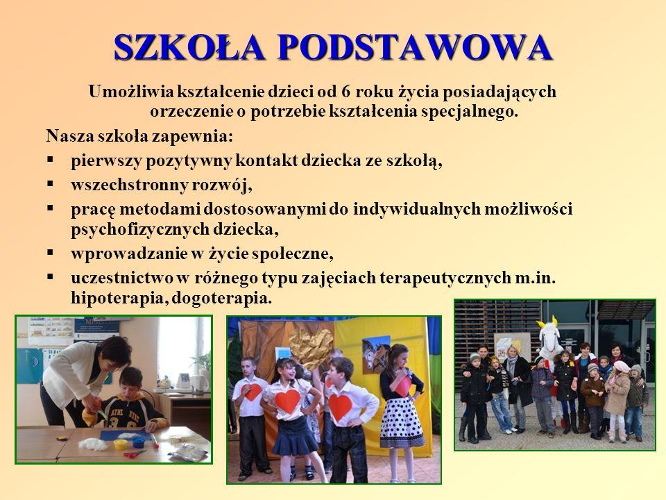 SZKOŁA PODSTAWOWAUmożliwia kształcenie dzieci od 6 roku życia posiadających orzeczenie o potrzebie kształcenia specjalnego.