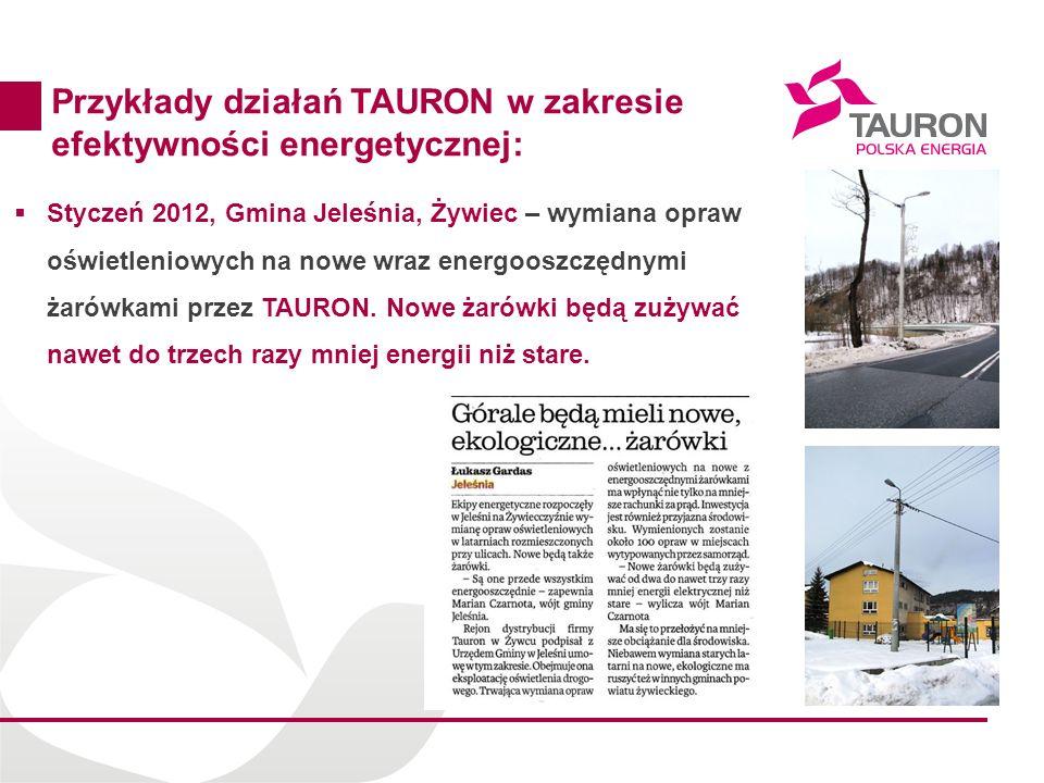 Przykłady działań TAURON w zakresie efektywności energetycznej: