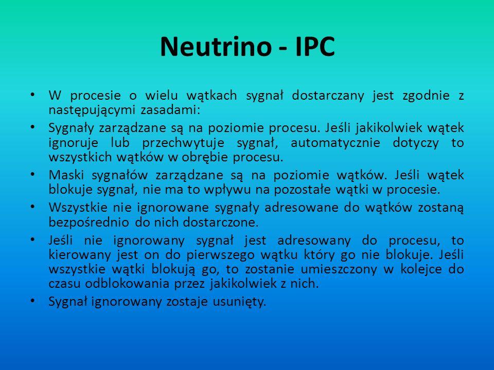 Neutrino - IPC W procesie o wielu wątkach sygnał dostarczany jest zgodnie z następującymi zasadami: