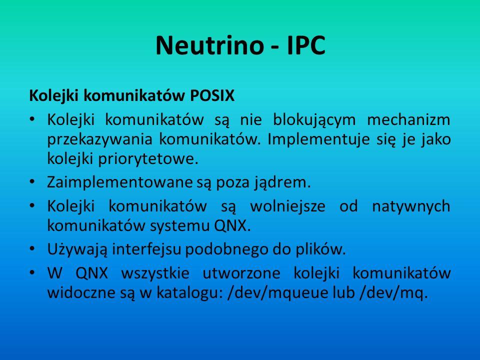 Neutrino - IPC Kolejki komunikatów POSIX