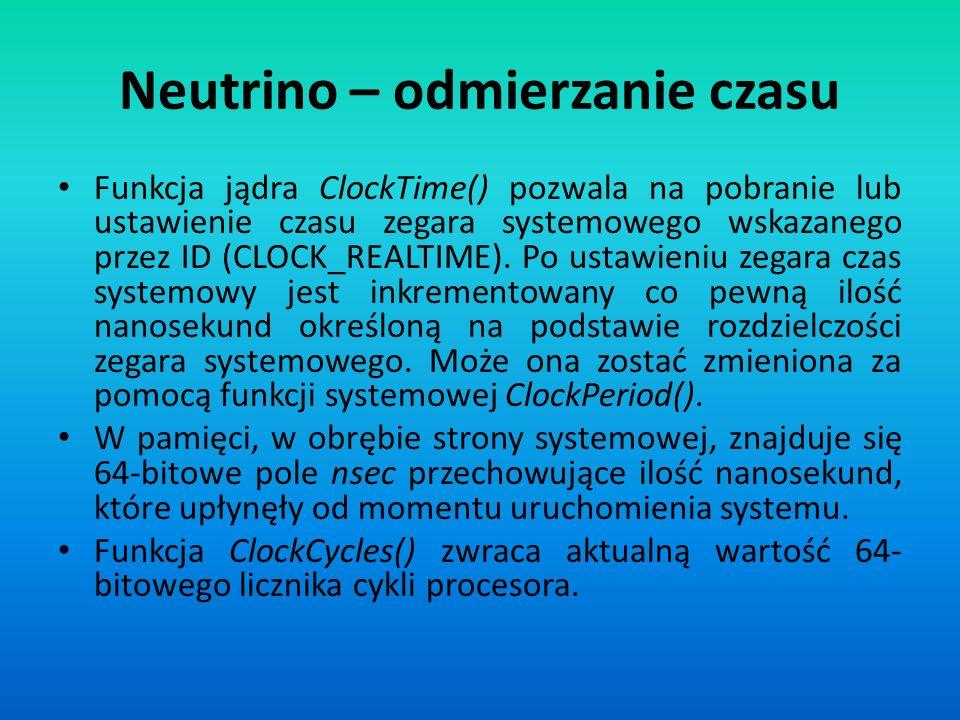 Neutrino – odmierzanie czasu