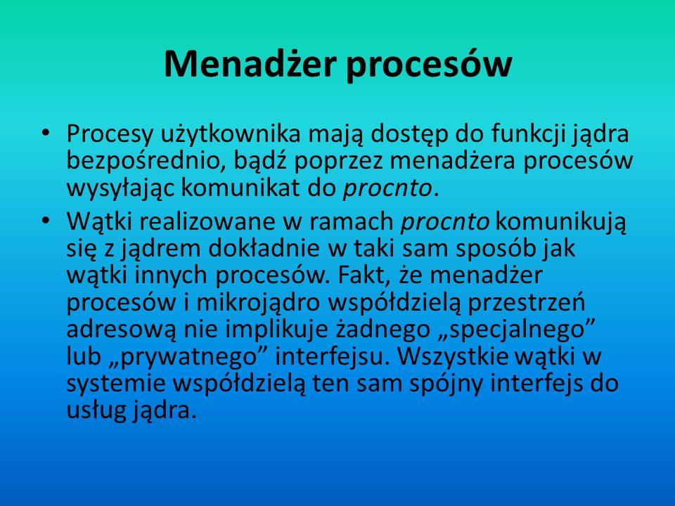Menadżer procesów Procesy użytkownika mają dostęp do funkcji jądra bezpośrednio, bądź poprzez menadżera procesów wysyłając komunikat do procnto.