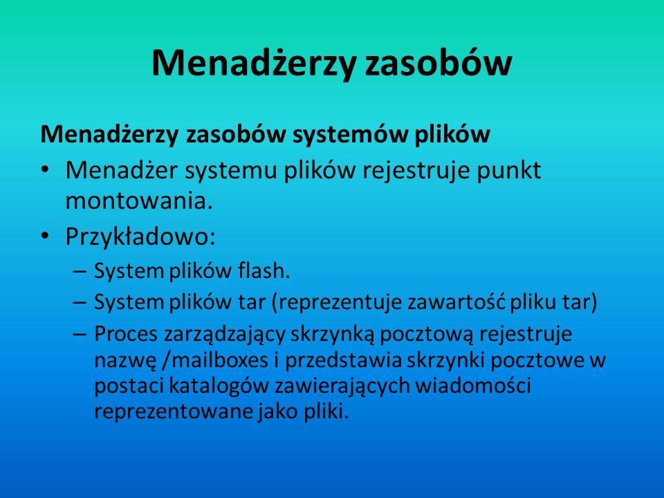 Menadżerzy zasobów Menadżerzy zasobów systemów plików