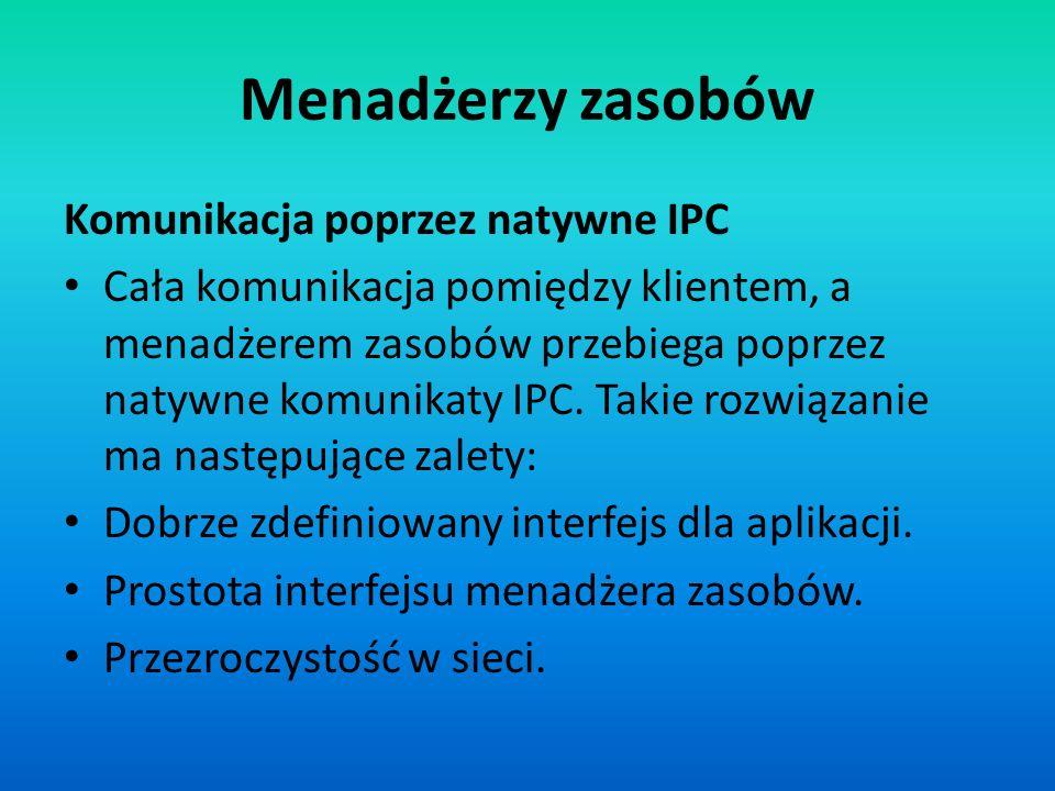 Menadżerzy zasobów Komunikacja poprzez natywne IPC