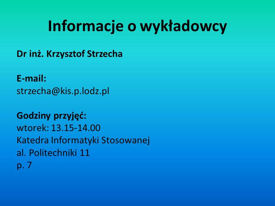 Informacje o wykładowcy