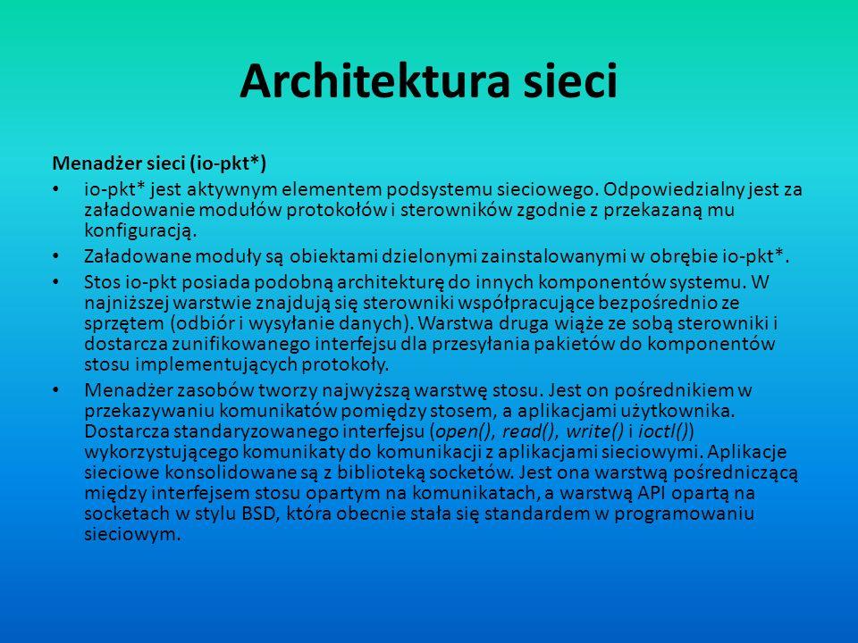 Architektura sieci Menadżer sieci (io-pkt*)