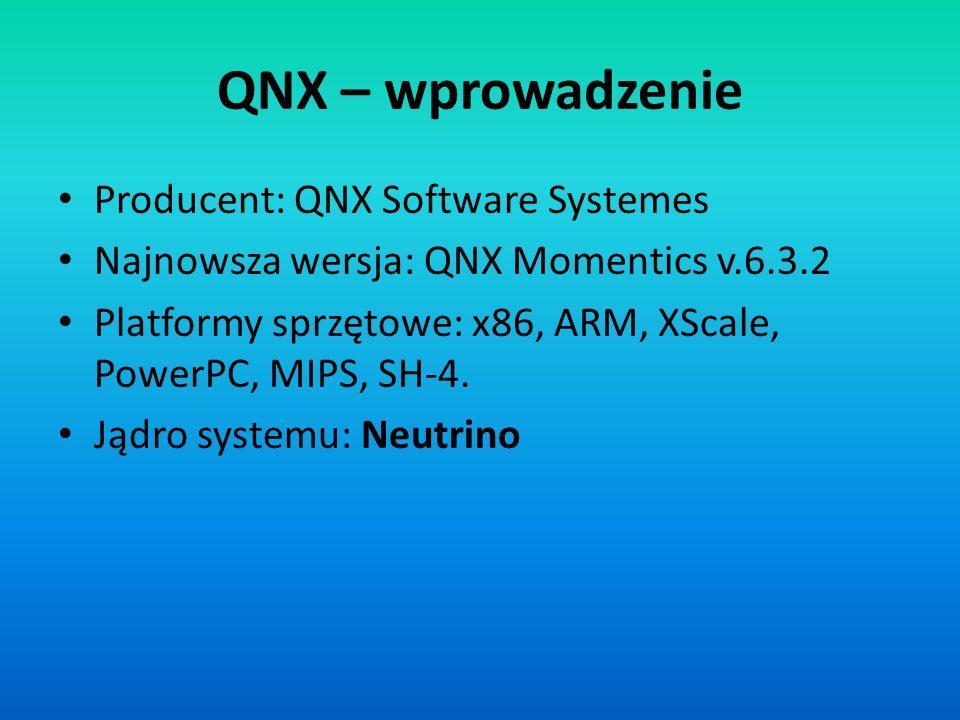QNX – wprowadzenie Producent: QNX Software Systemes