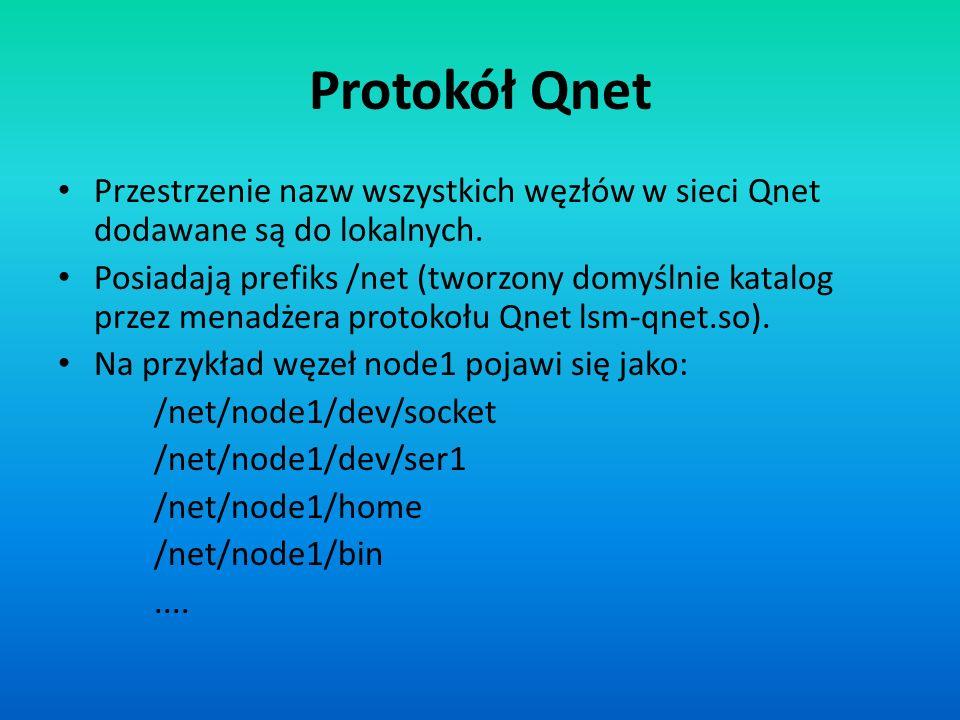 Protokół Qnet Przestrzenie nazw wszystkich węzłów w sieci Qnet dodawane są do lokalnych.