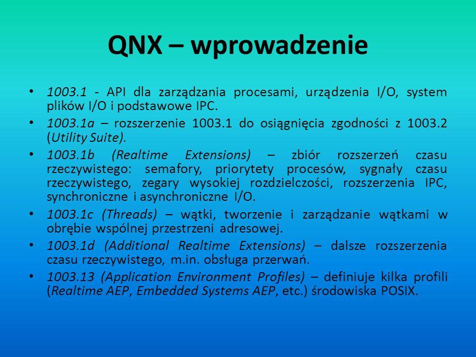 QNX – wprowadzenie 1003.1 - API dla zarządzania procesami, urządzenia I/O, system plików I/O i podstawowe IPC.