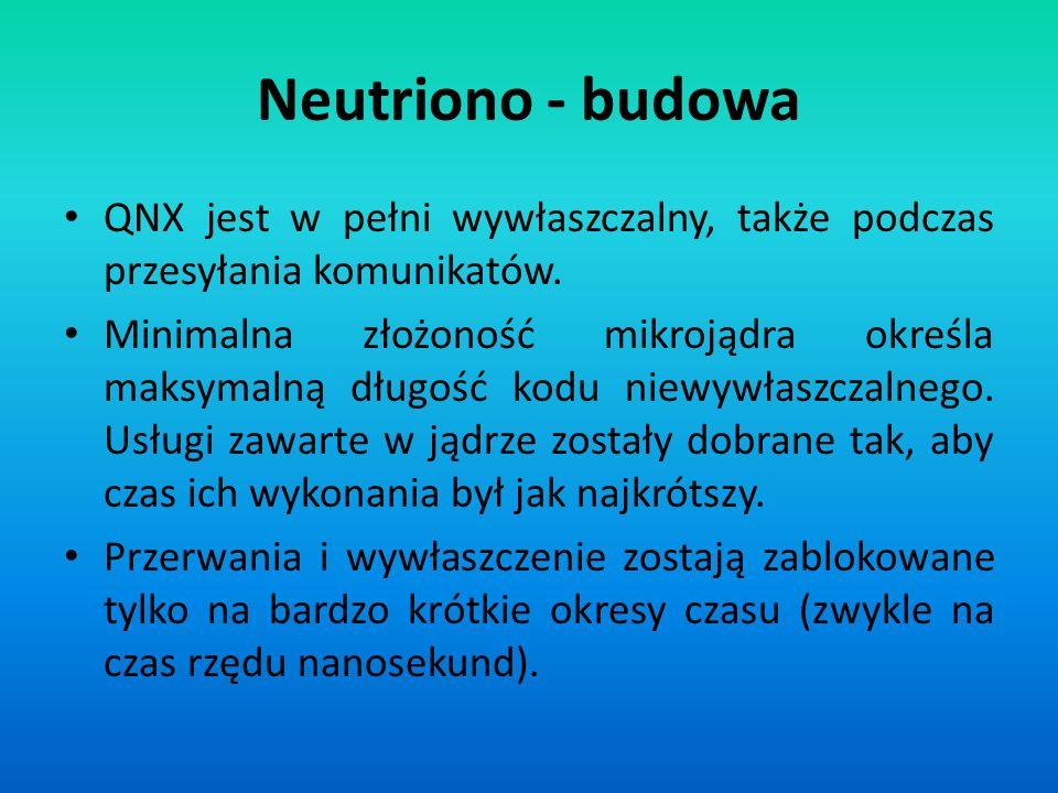 Neutriono - budowa QNX jest w pełni wywłaszczalny, także podczas przesyłania komunikatów.