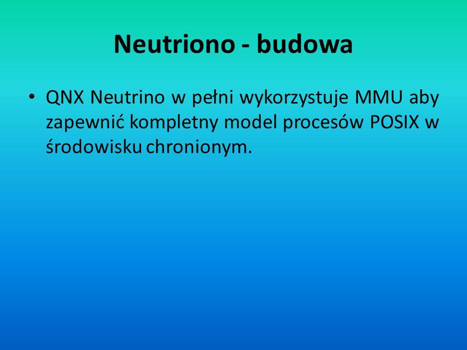 Neutriono - budowa QNX Neutrino w pełni wykorzystuje MMU aby zapewnić kompletny model procesów POSIX w środowisku chronionym.