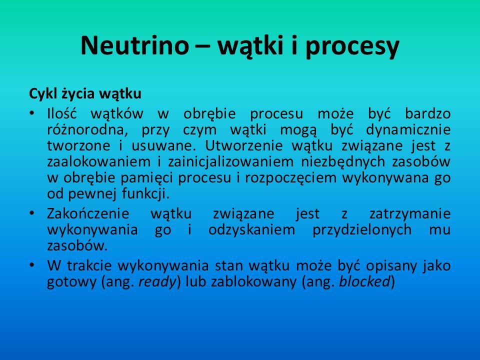 Neutrino – wątki i procesy
