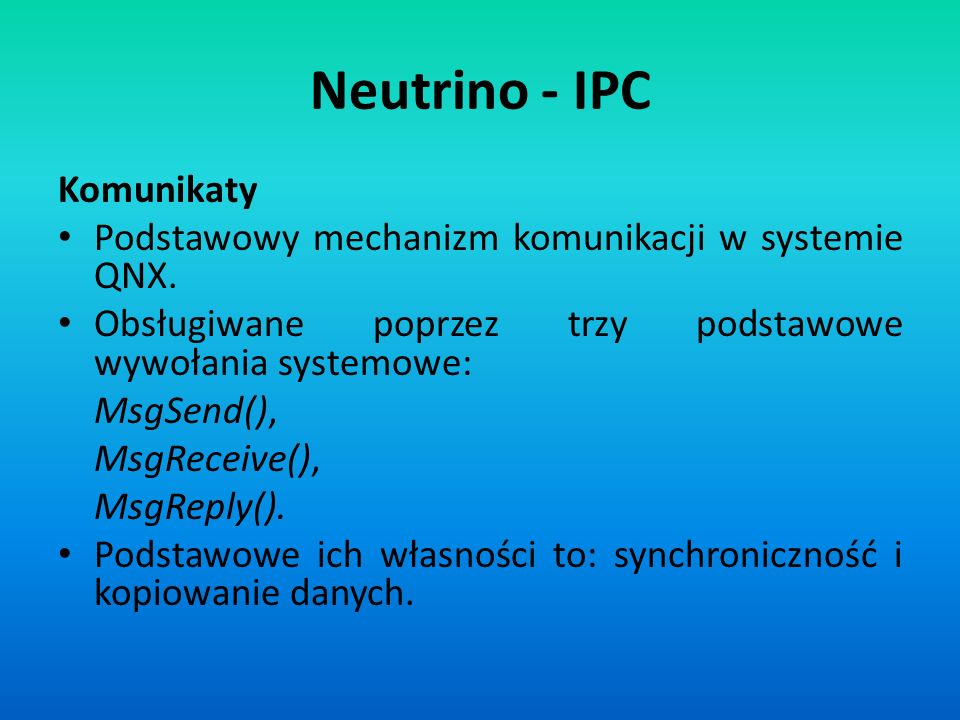 Neutrino - IPC Komunikaty