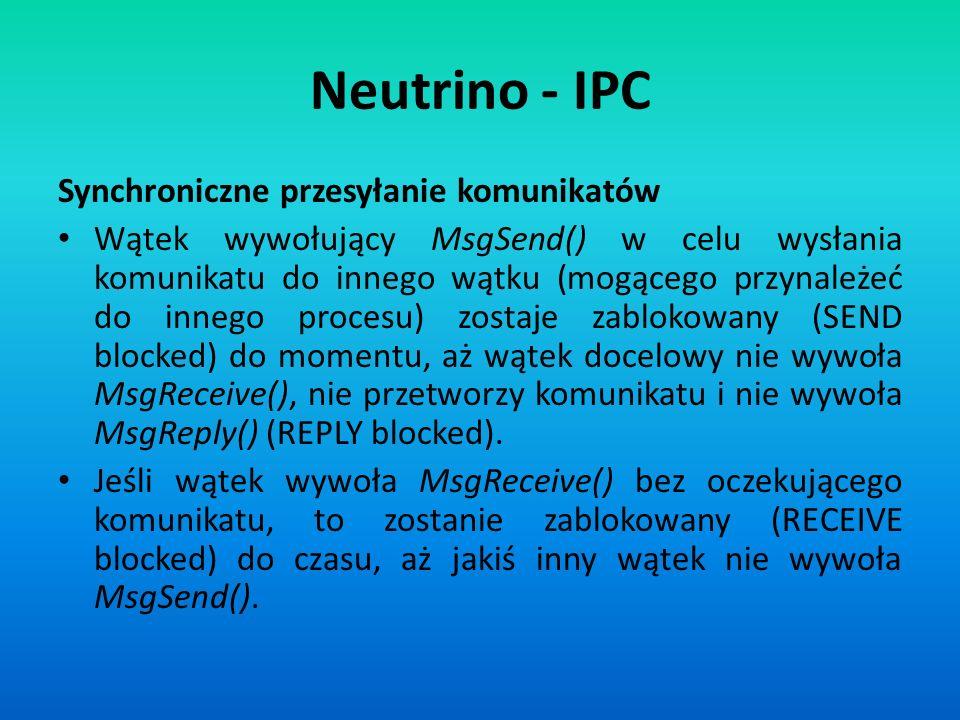Neutrino - IPC Synchroniczne przesyłanie komunikatów