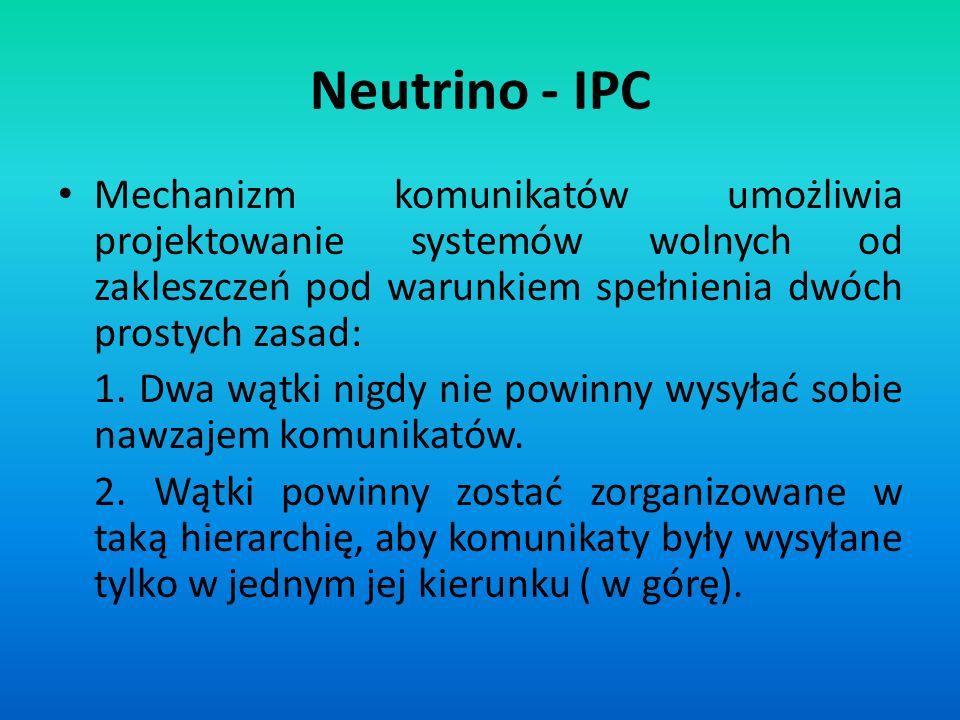 Neutrino - IPC Mechanizm komunikatów umożliwia projektowanie systemów wolnych od zakleszczeń pod warunkiem spełnienia dwóch prostych zasad: