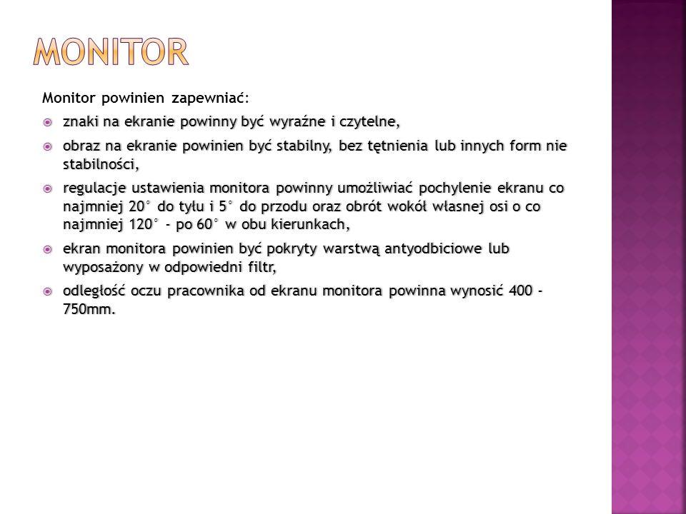 monitor Monitor powinien zapewniać: